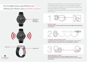 Apprenda tutto sul funzionamento degli orologi Limmex per chiamate d'emergenza in 3 fasi.