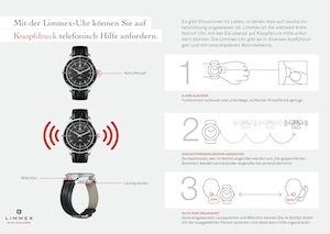 Die Funktionsweise der Limmex Notruf-Uhr in drei Schritten erklärt.